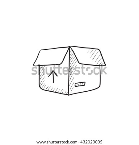 Carton package box vector sketch icon isolated on background. Hand drawn Carton package box icon. Carton package box sketch icon for infographic, website or app. - stock vector