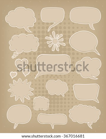 carton paper speech bubbles set. vector - stock vector