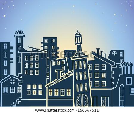 cartoon abstract urban landscape, vector illustration - stock vector