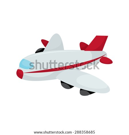 Cartoon aeroplane vector illustration. - stock vector