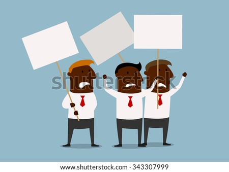 Cartoon african american businessmen protesting with raised demonstration placards. For business concept of picket, strike or protest themes - stock vector