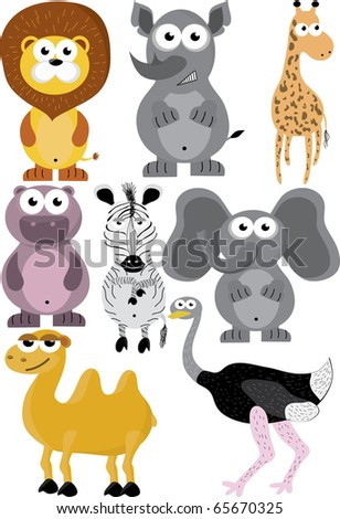 Cartoon african animal colorful set - stock vector