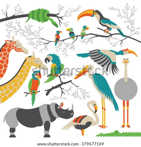 Cartoon african animals and birds set. Vector cartoon african animals and birds in flat style. Isolated cartoon african animals. Cartoon african animals background. Vector jungle animals and birds. - stock vector