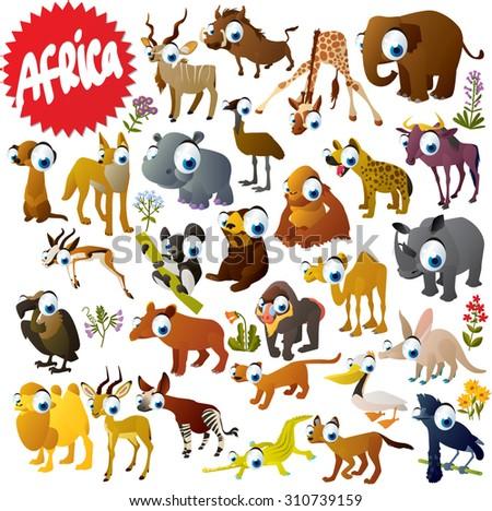 Cartoon African animals set: Gazelle, Elephant, Hippo, Rhino, Crocodile, Giraffe, Orangutan, Camel, Pelican, Fossa, Impala, Aardvark, Okapi, Baboon, Lemur, Wildebeest, Emu, Hyena, Coyote and Vulture - stock vector