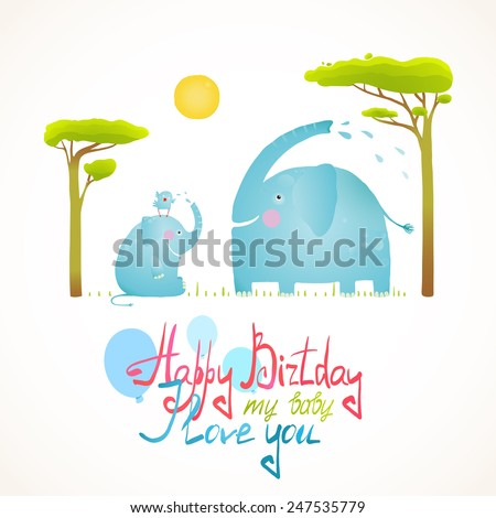 Cartoon African Elephants Bathing Happy Birthday Card. Brightly colored elephant child and mom. Vector illustration EPS10. - stock vector