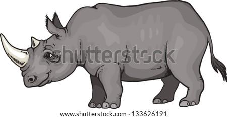 Cartoon African rhino - stock vector