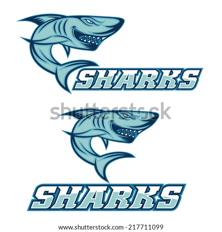 cartoon aggressive shark for sport team - stock vector