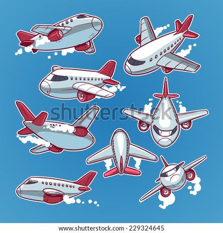 cartoon airplane set - stock vector