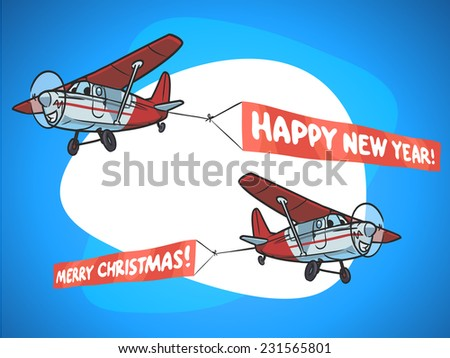 Cartoon airplane witn merry christmas and happy new year banner - stock vector