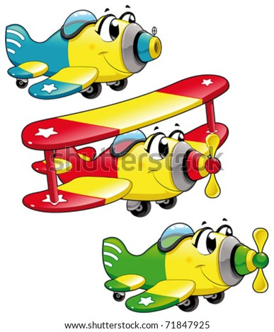 Cartoon airplanes. Funny vector characters, isolated objects - stock vector