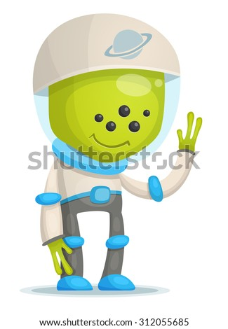 Cartoon Alien - stock vector