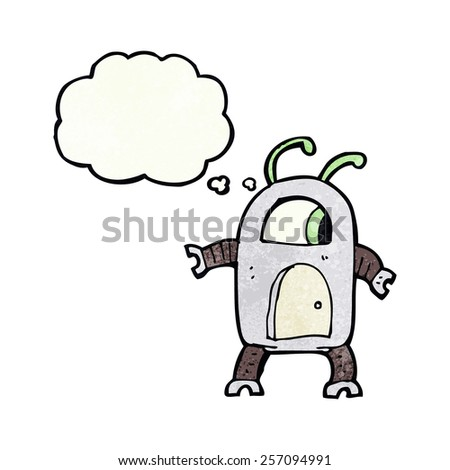 cartoon alien robot with thought bubble - stock vector