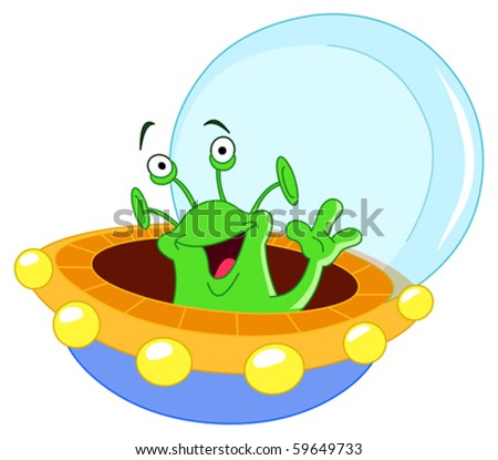 Cartoon alien waving hello - stock vector