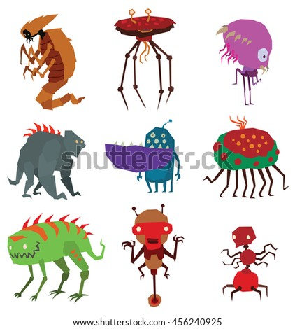 Cartoon aliens monsters set graphic mutant collection. Colorful toy cute aliens monsters cute cartoon creature funny animal. Vector Halloween aliens monsters happy ugly set comic cool toy. - stock vector