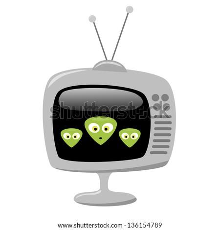 Cartoon Aliens on the Sci Fi Channel, on a Retro TV Set, EPS10 Vector - stock vector