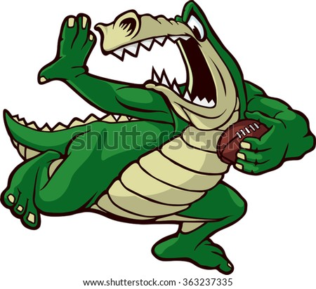 Cartoon Alligator running with a football. Vector File. Running Gator - stock vector
