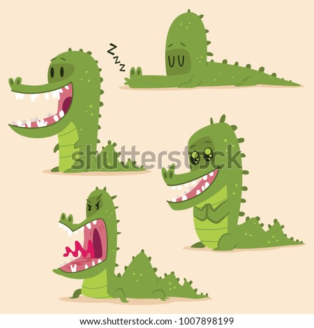 Cartoon alligator set. Vector character of funny green crocodile isolated on background.