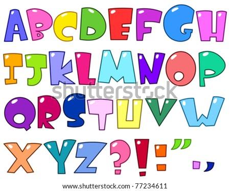 Cartoon alphabet - stock vector