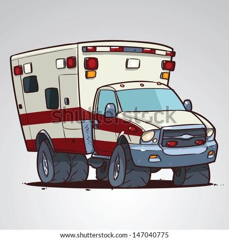 Ambulance Car Drawing Cartoon Ambulance Car Isolated