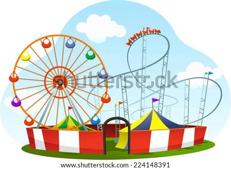 cartoon amusement park roller coaster world wheel cartoon vector illustration - stock vector