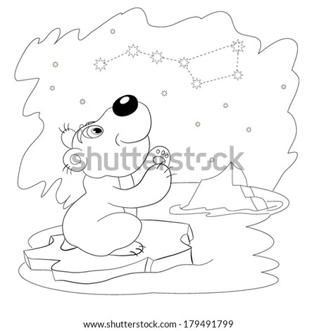 "Cartoon amusing little white bear looks at constellation the ""Big dipper"". Coloring book."