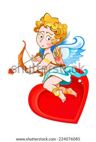 cartoon angel with a bow and arrow - stock vector