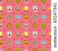 cartoon angry animal face seamless pattern - stock vector