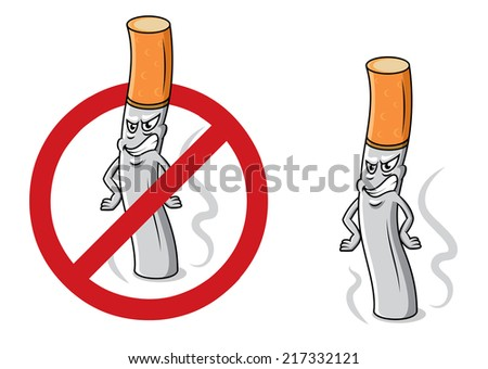 Cartoon angry cigarette butt with smoke, fire and stop sign for antinicotine and healthcare design - stock vector