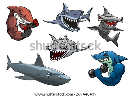 Cartoon angry dangerous sharks characters including sporting sharks, hunting grey, white and hammerhead sharks isolated on white background - stock vector