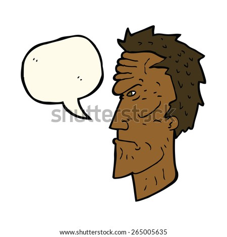 cartoon angry face with speech bubble - stock vector