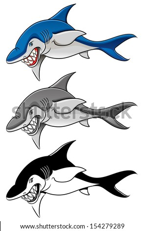 Cartoon, angry shark in color, gray scale and black and white vector