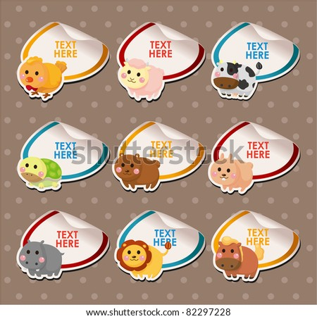 cartoon animal card - stock vector