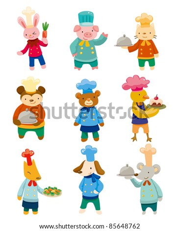 cartoon animal chef icons - stock vector