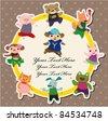 cartoon animal dance card - stock vector