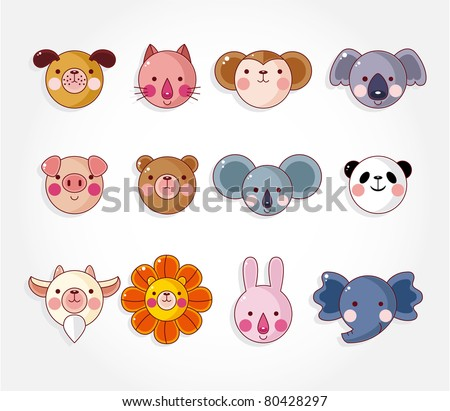cartoon animal face icon set,vector - stock vector