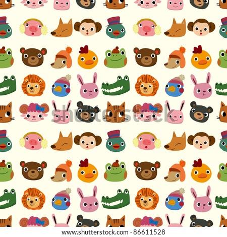 cartoon animal face pattern seamless - stock vector