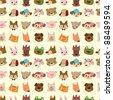 cartoon animal face seamless pattern - stock vector