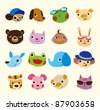 cartoon animal face set - stock vector