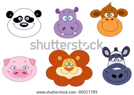 Cartoon animal head collection - stock vector