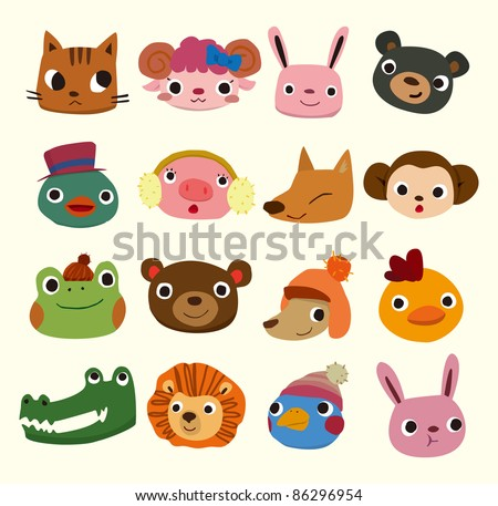 cartoon animal head icons - stock vector
