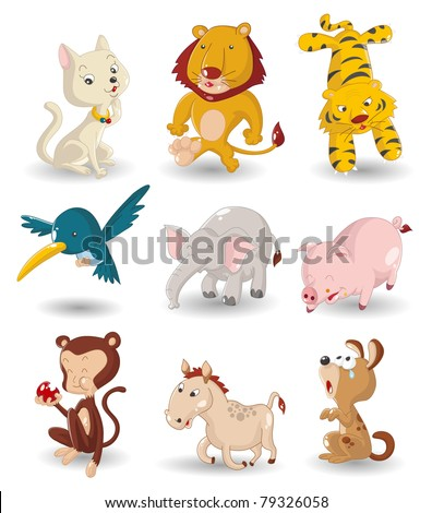 cartoon animal icon set - stock vector