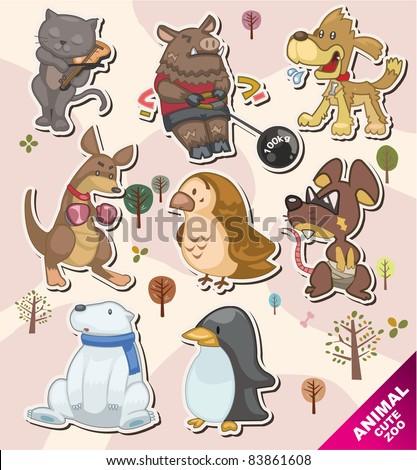 cartoon animal icon Stickers,Label - stock vector