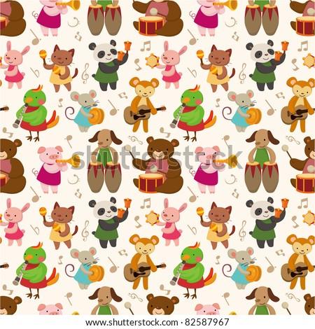 Cartoon animal play music seamless pattern - stock vector
