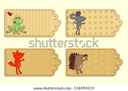 cartoon animal romantic tag collection - stock vector
