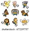 cartoon animal soccer player icon - stock vector