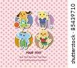 cartoon animal sport card - stock photo