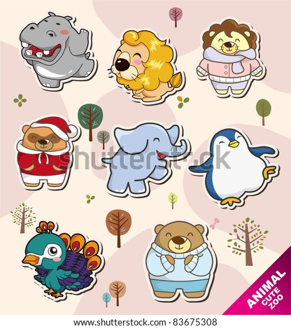 cartoon animal Stickers icons - stock vector