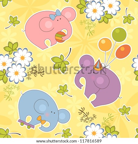 Cartoon animal vector seamless pattern. Childlike background with funny elephants - stock vector