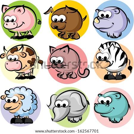 Cartoon animal vector set  - stock vector