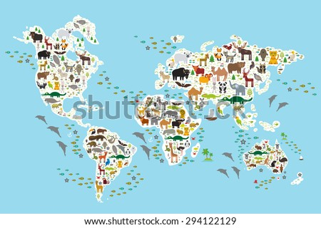 Cartoon animal world map for children and kids, Animals from all over the world, white continents and islands on blue background of ocean and sea. Vector illustration - stock vector